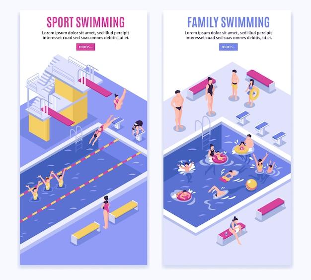 Sport swimming vertical banner set Free Vector