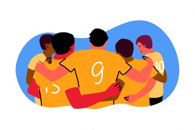 スポーツ、チームワーク、お祝い、勝利のコンセプト Premiumベクター