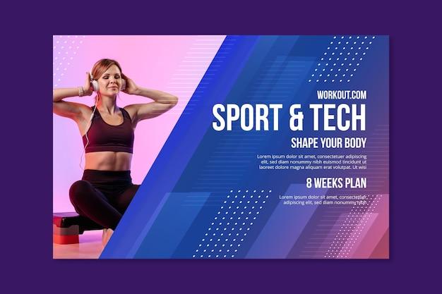 Modello di banner orizzontale sport e tecnologia Vettore gratuito