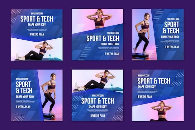 Post su instagram sportivi e tecnologici Vettore gratuito