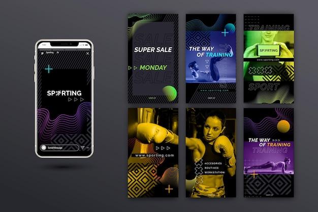 Storie di instagram sportive e tecnologiche Vettore gratuito