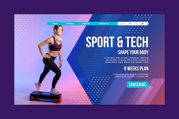 Pagina di destinazione di sport e tecnologia Vettore gratuito