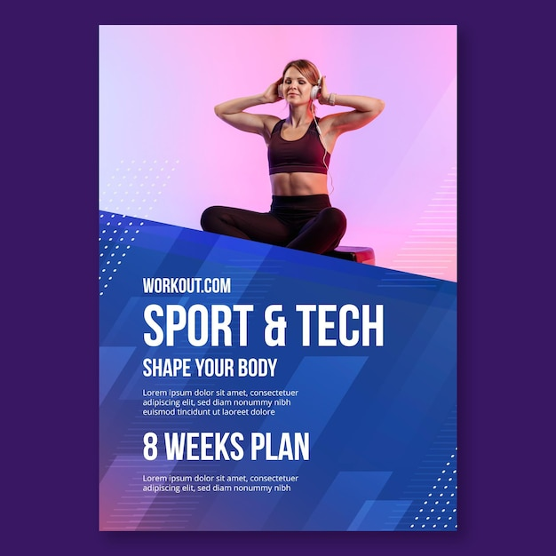 스포츠 및 기술 포스터 템플릿 무료 벡터