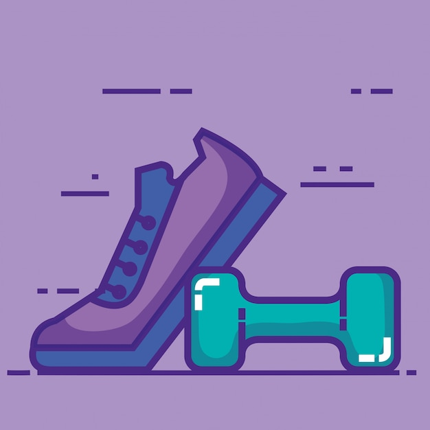 Sport tennis shoes with dumbell Free Vector