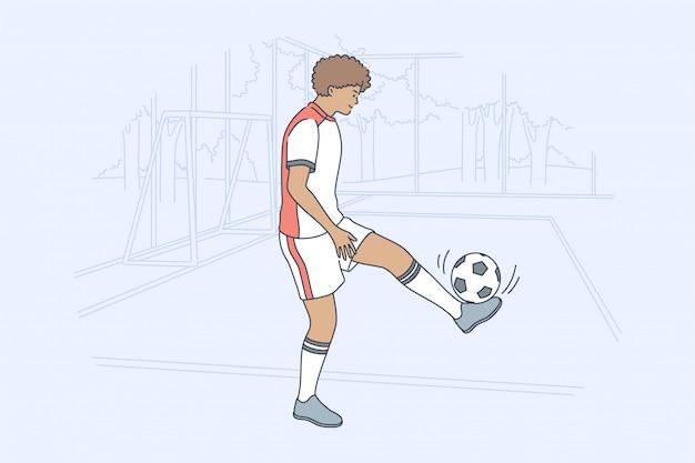 スポーツトレーニングゲームサッカー活動コンセプト Premiumベクター