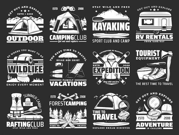 Sport, travel and active leisure  icons Premium Vector
