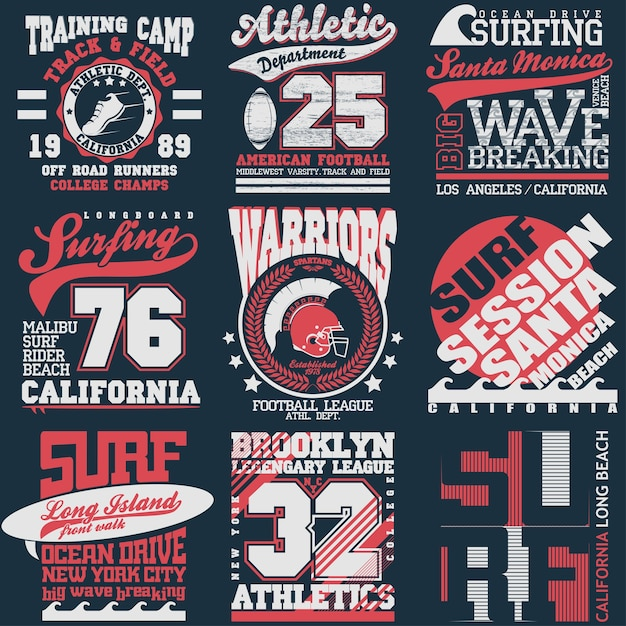 スポーツタイポグラフィグラフィックエンブレムセット、tシャツ印刷デザイン。アスレチックオリジナルウェア、スポーツウェアアパレル向けヴィンテージプリント Premiumベクター