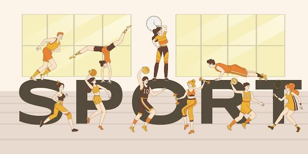 Спорт слово баннер шаблон. люди делают спортивные упражнения, фитнес-тренировки, играют в спортивные игры. Premium векторы