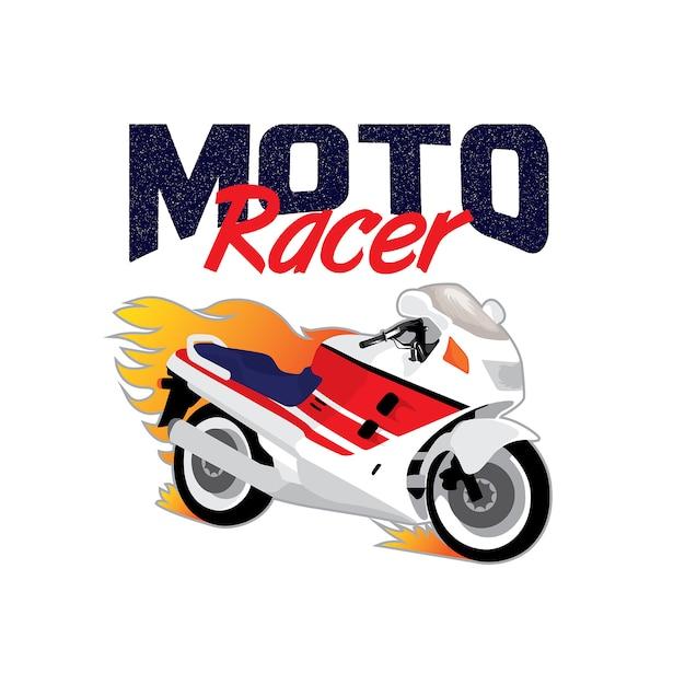 Sportbike motorcycle motorsport logo Premium Vector