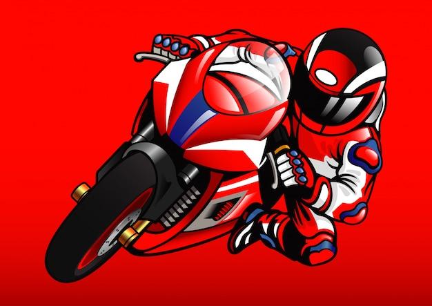 アクションでsportbikeレーサー Premiumベクター