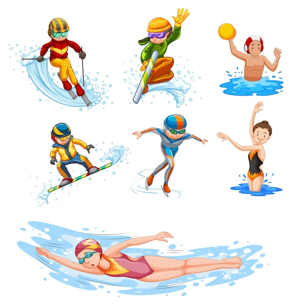 Sporting activity people on white Free Vector
