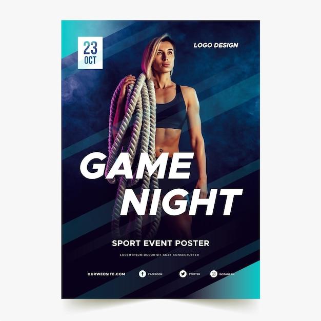 이미지와 스포츠 이벤트 포스터 프리미엄 벡터