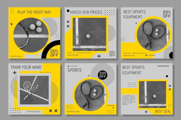 Sporting play the game cards collection Free Vector