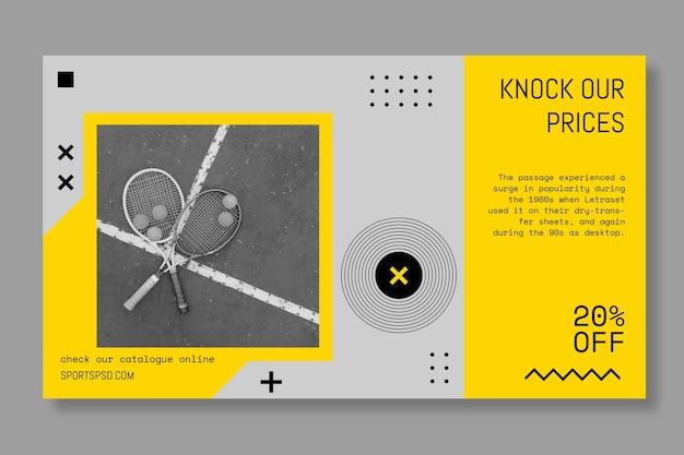 Спортивный игровой теннисный баннер Бесплатные векторы