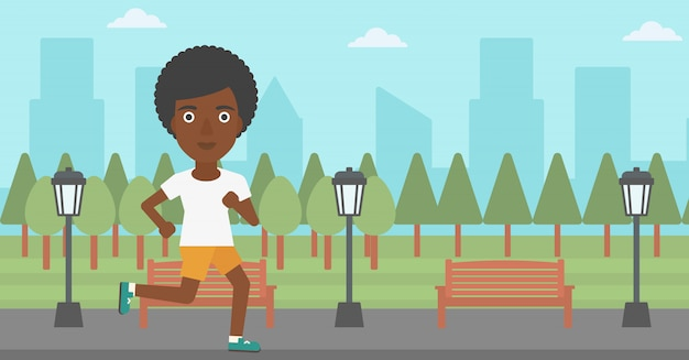 Sportive woman jogging. Premium Vector