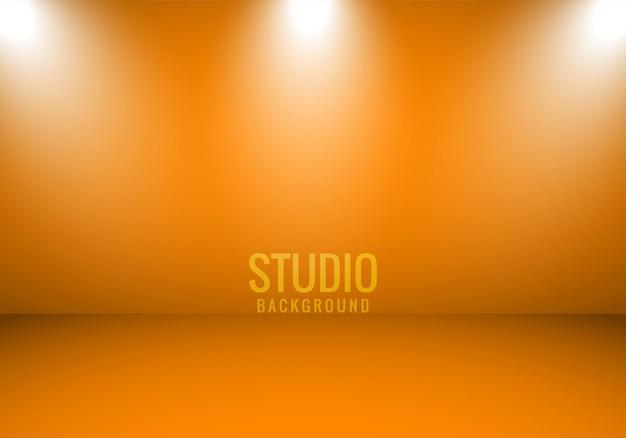 Sportlightとオレンジ色の抽象的な背景スタジオルーム 無料ベクター