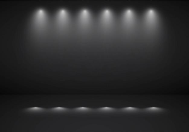 Sportlightと抽象的な暗い黒背景スタジオルーム 無料ベクター