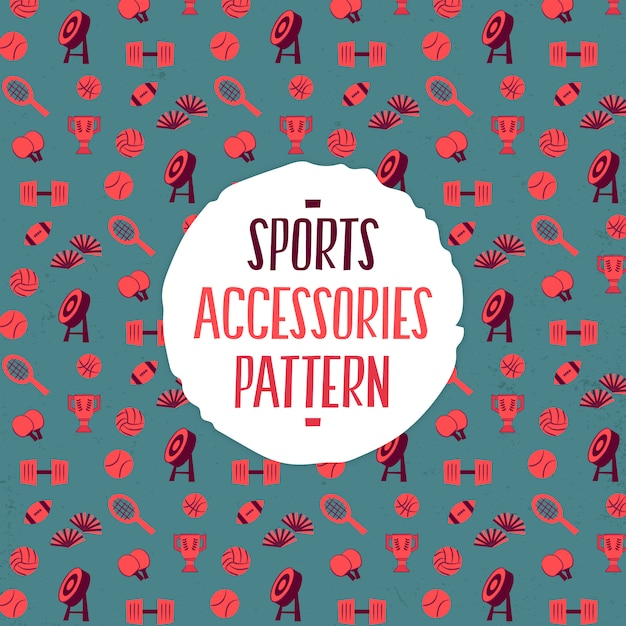 Sports accessories pattern Premium Vector