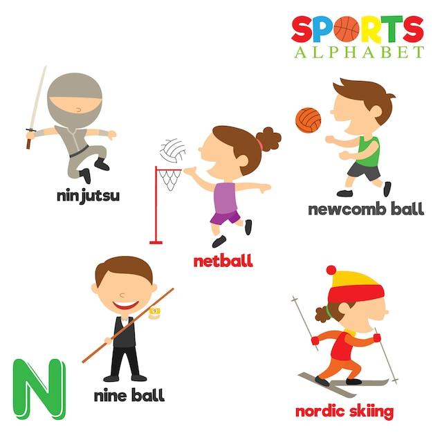 Sports alphabet Premium Vector