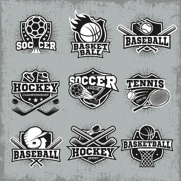 Знаки отличия в стиле ретро для спорта и соревнований Premium векторы