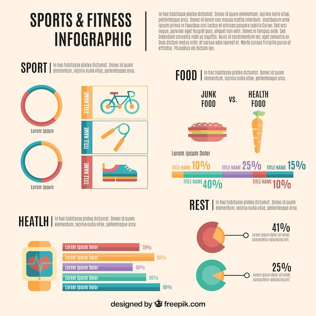 Sports and fitness infography flat\ design