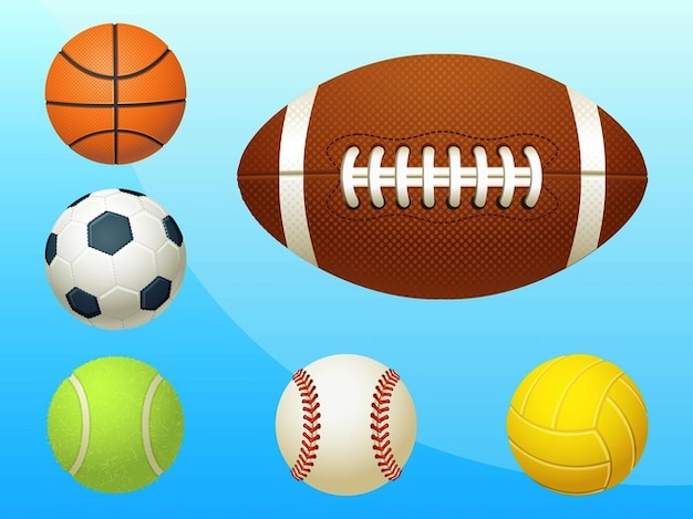 Sports balls realistic icons