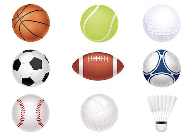 Sports balls set isolated Premium Vector