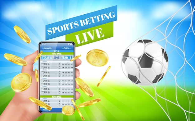 Sports betting banner live bet application service Free Vector