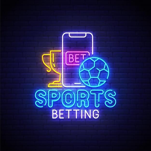 Ставки на спорт неоновый логотип Premium векторы