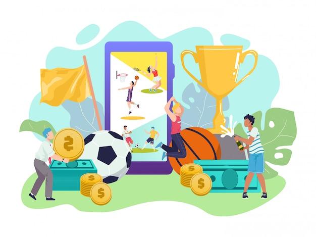 스포츠 베팅, 축구, 스마트 폰 앱으로 방송되는 라이브 게임, 돈을 축하하는 작은 사람들이 북 메이커 웹 사이트에서 온라인 베팅을 한 후 승리합니다. 온라인 축구 경기와 같은 스포츠 베팅. 프리미엄 벡터