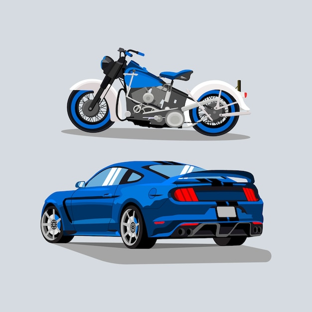 Sports car and bike illustrations Premium Vector