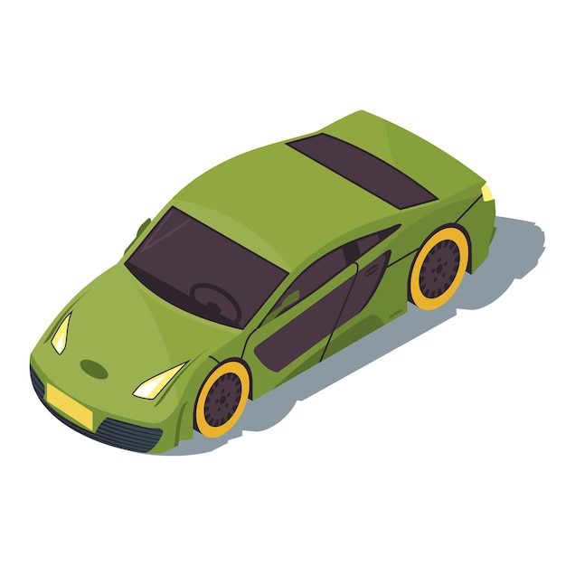 スポーツカーのアイソメトリックカラーイラスト。都市交通のインフォグラフィック。レーシングカー。緑のスーパーカー。アーバンファストオート。町の交通機関。白い背景で隔離の自動車3dコンセプト Premiumベクター