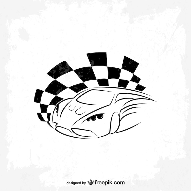 Sports car and race flag logo Free Vector