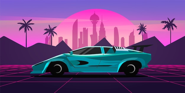A sports car in a retro wave landscape with a neon grid, city and palm trees. vector illustration in