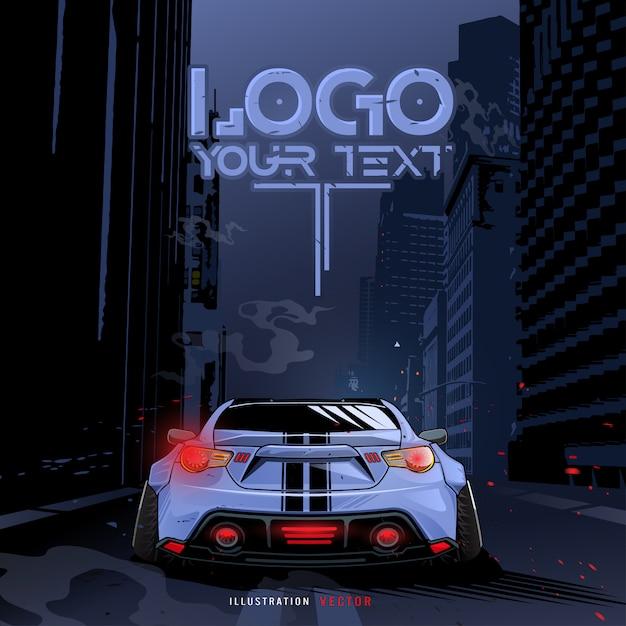 市内を走るスポーツカー。イラストテンプレート。青いスポーツレーシングカー Premiumベクター