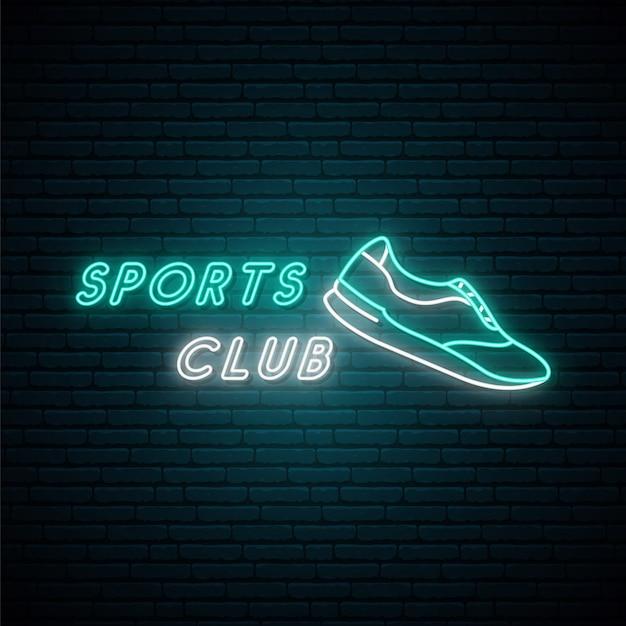 스포츠 클럽 네온 빛 간판입니다. 프리미엄 벡터