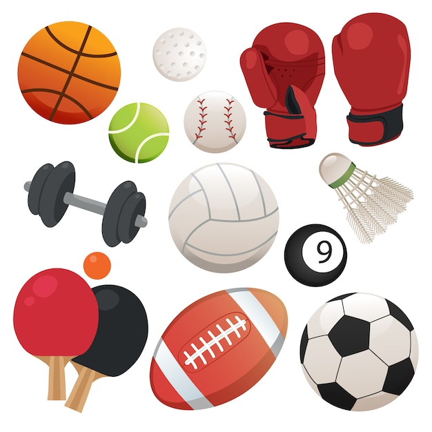 Sports elements collection Free Vector