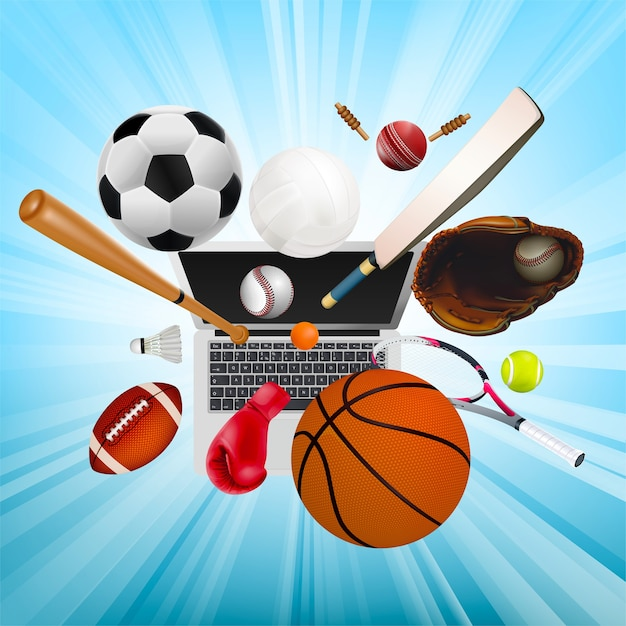 Sports equipment as a symbol of sports online Premium Vector