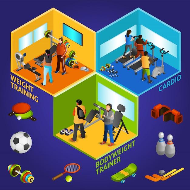 Sports equipment athletes isometric 2x2 Free Vector