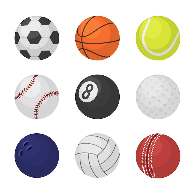 Sports equipment game balls football basketball tennis cricket billiards bowling volleyball Premium Vector