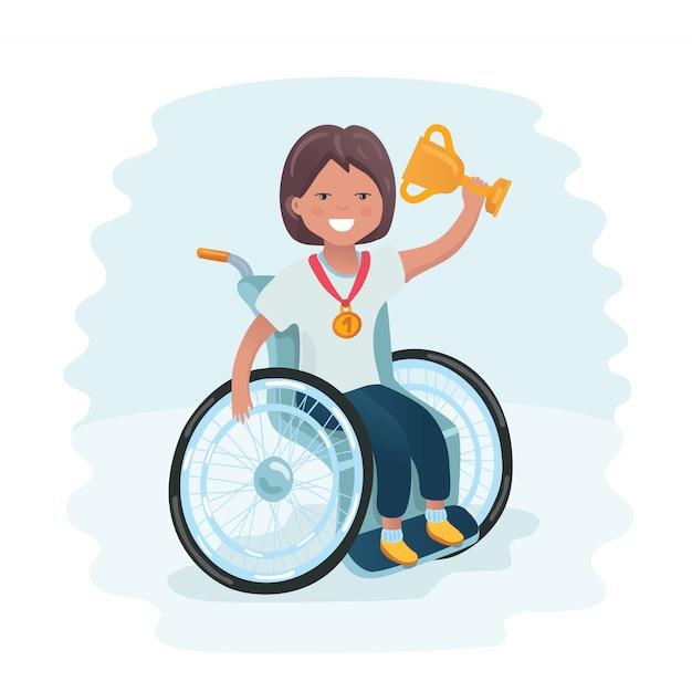 スポーツ家族。車椅子でボールをプレーし、彼女の友人と一緒に楽しい時を過す障害を持つ少女。若いスポーツマンのコーチング。医療リハビリテーション。図。 Premiumベクター
