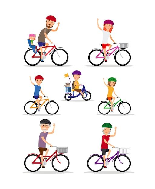 스포츠 가족. 엄마, 아빠, 아이들은 자전거를 타요. 딸과 아들, 할머니와 할아버지, 벡터 일러스트 레이션 무료 벡터