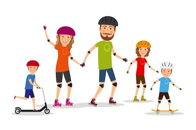 스포츠 가족. 엄마, 아빠, 아이들 롤러 스케이트. 라이프 스타일 건강, 벡터 일러스트 레이 션 무료 벡터