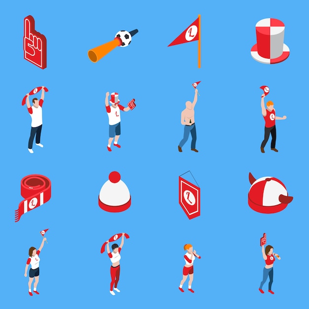 Sports fans with accessories isometric set Free Vector