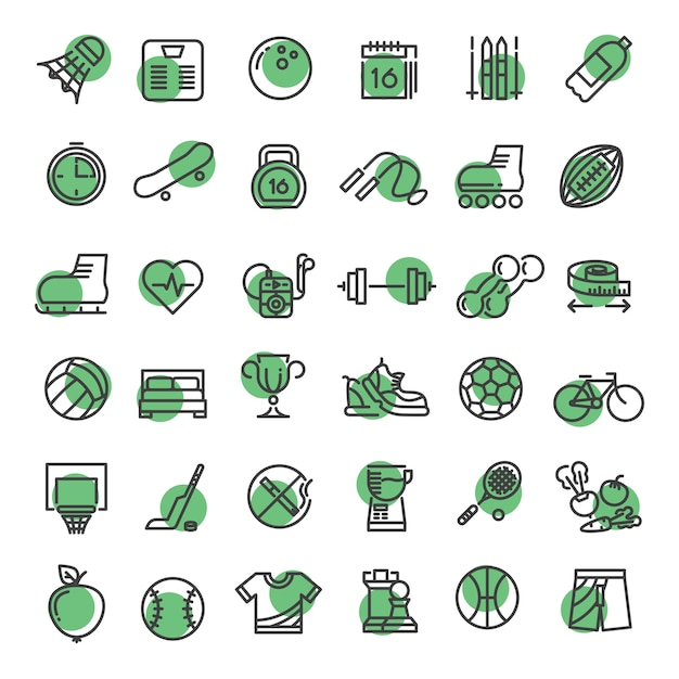 Sports and fitness outline symbols sports equipment thin line  icons Premium Vector