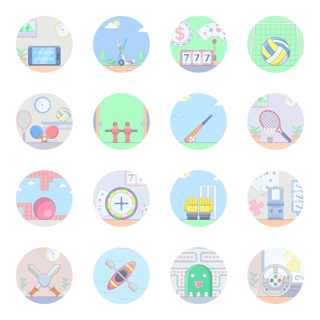 Sports flat icons pack Premium Vector