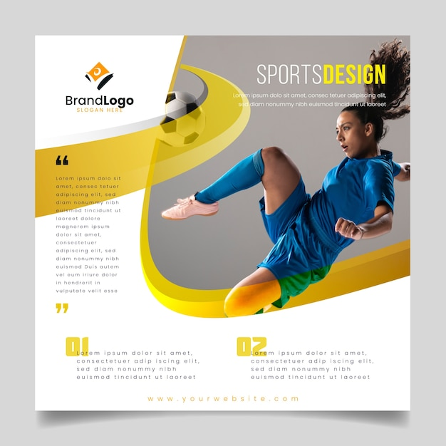Sports flyer with football player Free Vector