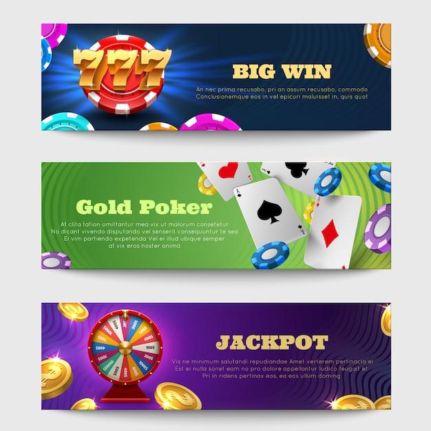 Знамена спорт играя в азартные игры с машиной лотереи, комплектом вектора денег золотых монеток колеса удачи. казино удачи баннер Premium векторы