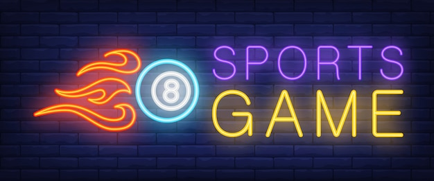 Sports game neon text and ball with fire Free Vector