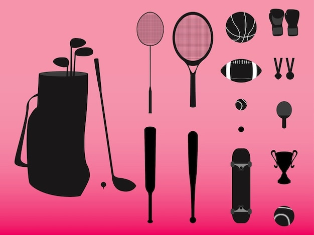 Sports gear bag and balls vector